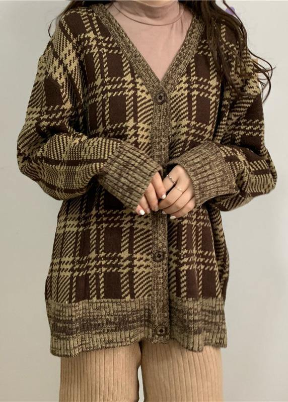 Cute brown plaid knit cardigans Loose fitting winter knit outwear v neck