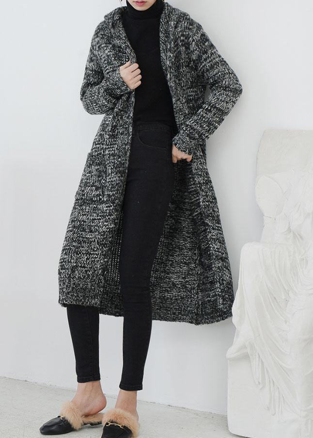 Cute fall knitted coat casual gray hooded pockets sweater coat