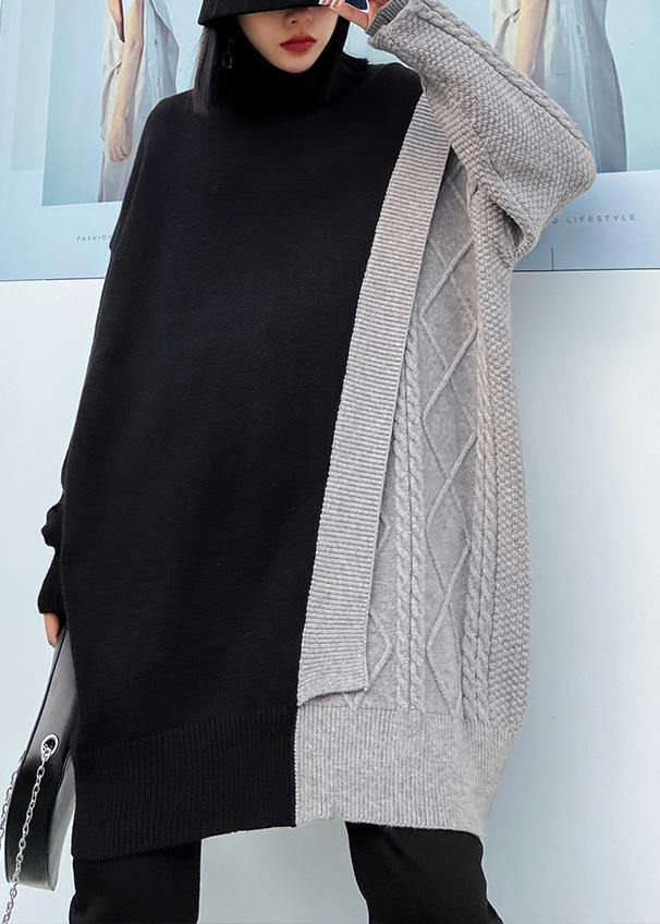 Cute gray clothes For Women high neck patchwork trendy plus size knitwear