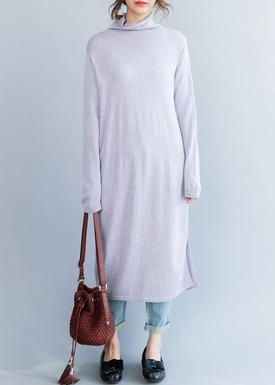 Cute light purple Sweater outfits Moda high neck daily side open knit dresses