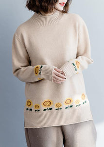 Cute nude knit top silhouette Sun flower plus size side open knitwear