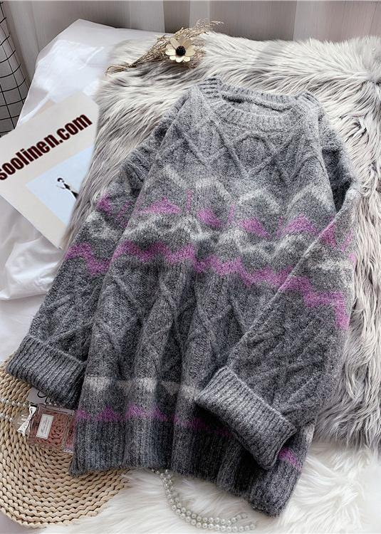 Cute o neck Sweater dress outfit plus size dark gray striped oversized knit dresses