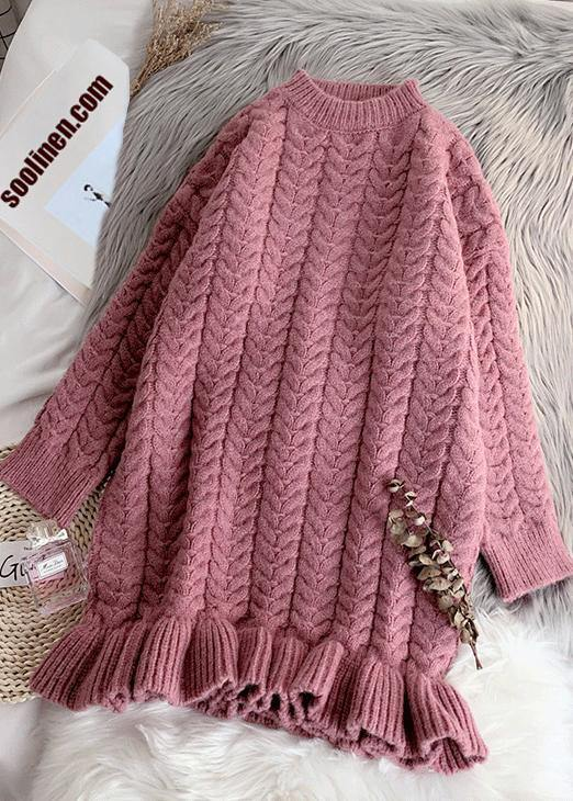 Cute pink Sweater weather Refashion o neck thick Ugly fall sweater dress