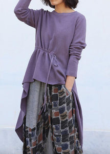 Cute purple clothes trendy plus size o neck knitted blouse drawstring asymmetric