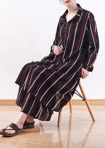 Cute red striped outwear casual lapel cardigans