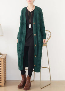 Cute spring knitwear fall fashion green wild sweater coat