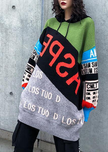 Cute winter patchwork prints knitwear plus size hooded knitted t shirt