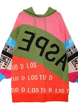 Load image into Gallery viewer, Cute winter patchwork prints knitwear plus size hooded knitted t shirt
