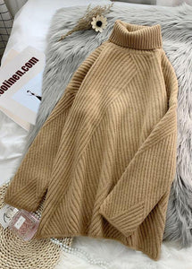 Cute yellow knit blouse  high neck plus size fall knit tops