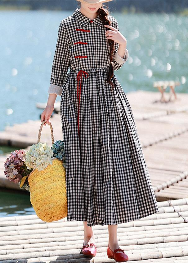 DIY Lapel Drawstring Spring Clothes Women Photography Black Plaid Dresses