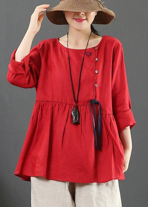 DIY O Neck Cinched Spring Shirts Women Sewing Red Top