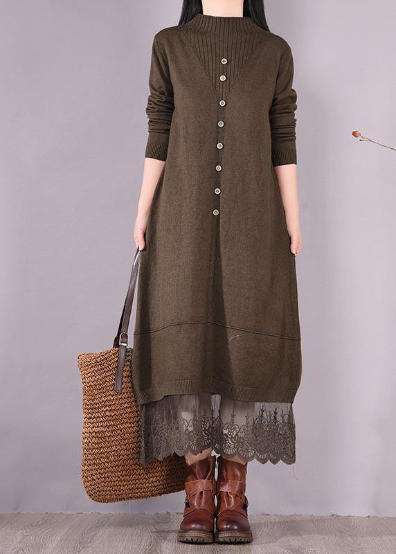 DIY O Neck Patchwork Lace Spring Tunics Linen Chocolate A Line Dress