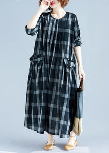 DIY O Neck Pockets Spring Tunics Gray Plaid Maxi Dress