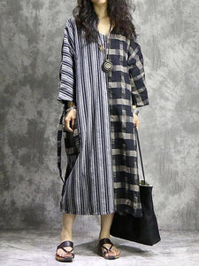 DIY Plaid patchwork striped cotton linen quilting dresses v neck pockets Maxi Dress