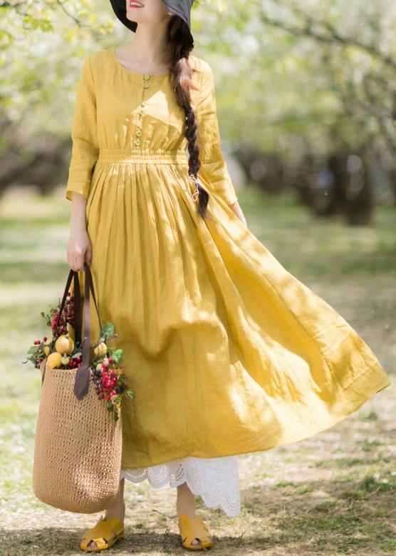 DIY Yellow Outfit O Neck Half Sleeve Loose Spring Dresses