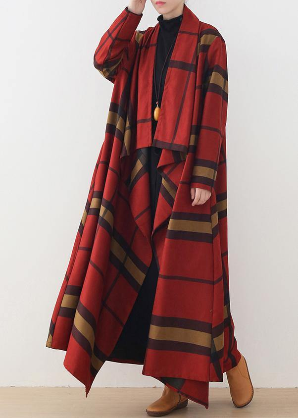 DIY asymmetric Plus Size maxi coat red plaid daily coats