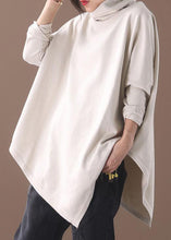 Load image into Gallery viewer, DIY asymmetric hem cotton high neck blouses for women Fabrics beige white tops