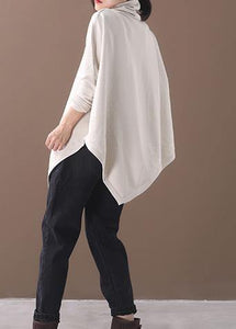 DIY asymmetric hem cotton high neck blouses for women Fabrics beige white tops