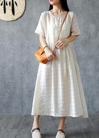 DIY beige linen quilting dresses o neck wrinkled Kaftan summer Dresses
