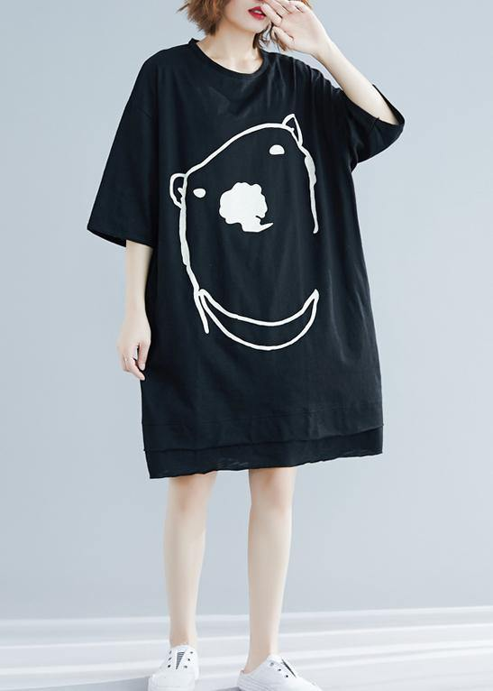 DIY black Cartoon print Cotton Tunics o neck Art summer Dress