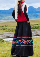 Load image into Gallery viewer, DIY black Cotton quilting clothes pleated tunic embroidery skirt