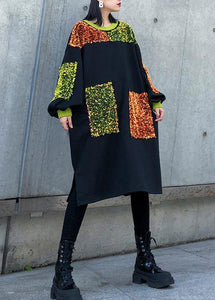 DIY black Sequined decorated cotton dresses patchwork long winter Dresses