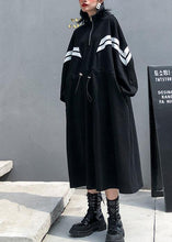 Load image into Gallery viewer, DIY black cotton clothes For Women stand collar patchwork long fall Dress