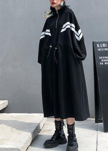 DIY black cotton clothes For Women stand collar patchwork long fall Dress