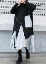 Load image into Gallery viewer, DIY black cotton quilting clothes patchwork high neck Maxi Dress