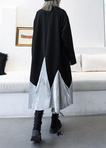 DIY black cotton quilting clothes patchwork high neck Maxi Dress