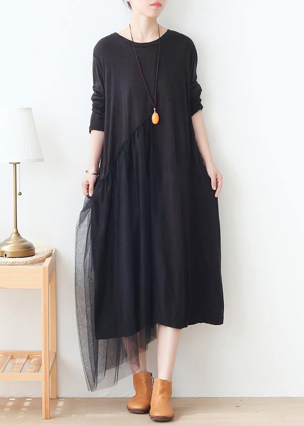DIY black patchwork tulle dresses o neck Maxi Dress