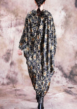 Load image into Gallery viewer, DIY black print dresses v neck asymmetric Art fall Dress