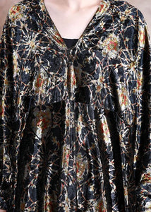 DIY black print dresses v neck asymmetric Art fall Dress