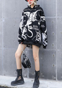 DIY black prints cotton clothes hooded loose fall T shirts