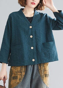 DIY blackish green cotton clothes For Women v neck pockets silhouette spring blouse