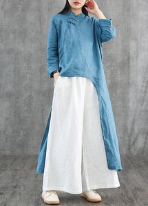 DIY blue linen Robes stand collar asymmetric Robe Dress