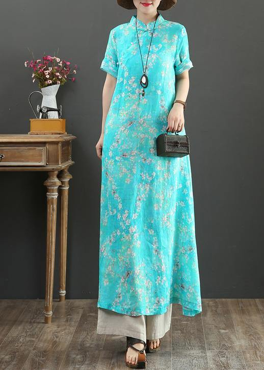 DIY blue print linen Robes stand collar Chinese Button Love summer Dress