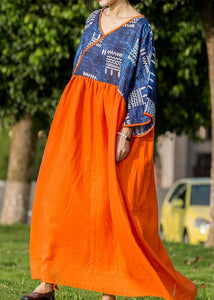 DIY blue print patchwork orange linen Robes v neck cotton summer Dresses