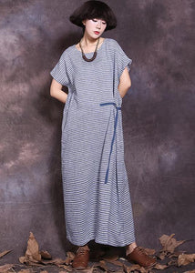 DIY blue striped cotton linen Robes tie waist Maxi summer Dress
