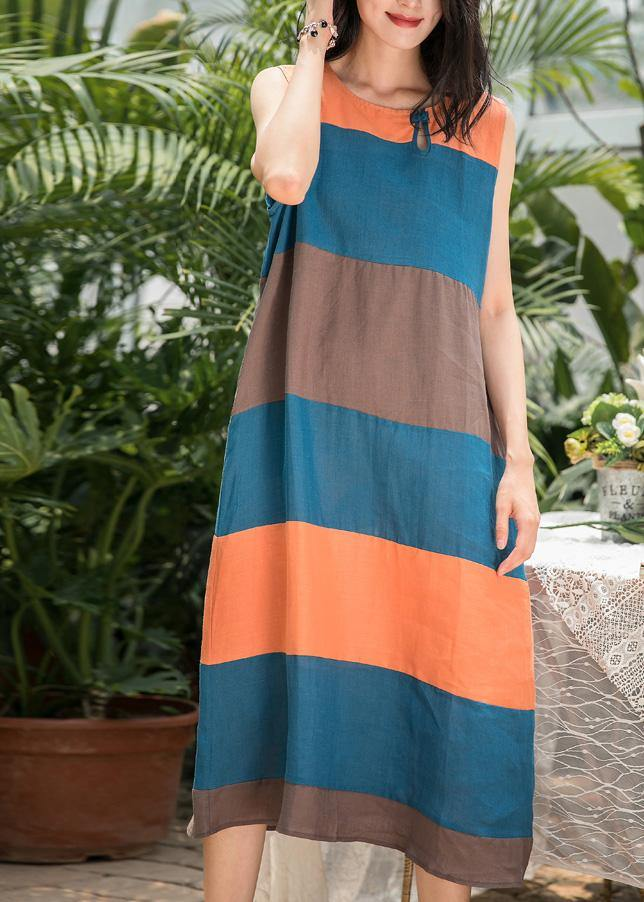 DIY blue striped linen clothes For Women o neck Sleeveless Art summer Dresses