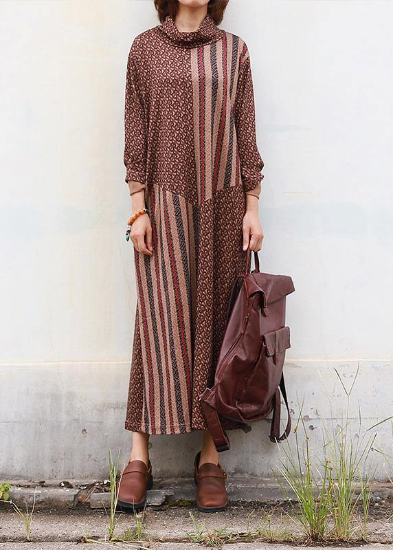 DIY brown cotton clothes high neck Traveling patchwork Dress