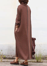 Load image into Gallery viewer, DIY brown cotton clothes high neck Traveling patchwork Dress