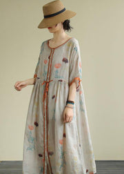 DIY floral linen Long Shirts o neck drawstring Robe summer Dresses
