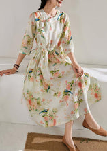 Load image into Gallery viewer, DIY floral linen clothes For Women o neck drawstring cotton Dress