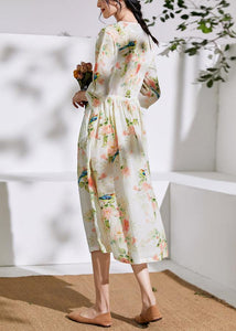 DIY floral linen clothes For Women o neck drawstring cotton Dress
