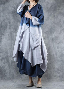 DIY gray blue Gradient color Fine outfit Fabrics fall asymmetric coats