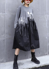 Load image into Gallery viewer, DIY gray cotton quilting dresses patchwork tassel Maxi o neck Dresses