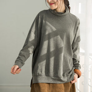 DIY gray cotton top silhouette Fine pattern side open loose shirts