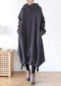 DIY gray cotton tunic pattern hooded asymmetric cotton Dress