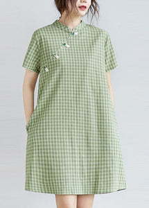 DIY green plaid Cotton clothes Women stand collar pockets oversized Dress